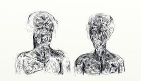 Ejemplo hecho con el nankin que exhibe el busto de dos hombres de lado a lado Fotografía de archivo