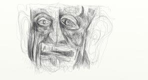 Ejemplo hecho del dibujo digital que muestra el detalle de la cara de un hombre apenado, aturdido, sorprendido Minimalista y deli Fotografía de archivo