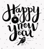 Ejemplo hecho a mano de las letras de la Feliz Año Nuevo Imágenes de archivo libres de regalías