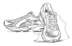 Ejemplo hecho a mano del bosquejo del vector del zapato de los deportes de las zapatillas de deporte Imagen de archivo libre de regalías