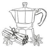 Ejemplo hecho a mano del gráfico de vector con el fabricante de café del géiser Diseñe para los carteles, impresiones, plantillas libre illustration