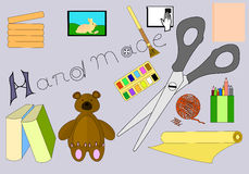 Ejemplo hecho a mano del vector de la materia Silueta de los símbolos del trabajo creativo aislada en Grey Background Foto de archivo libre de regalías