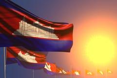 Ejemplo hermoso de la bandera 3d del d?a del himno - muchas banderas de Camboya en diagonal colocada puesta del sol con el bokeh  ilustración del vector
