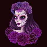 Ejemplo hermoso de la mujer del cráneo del azúcar Día de ejemplo muerto stock de ilustración