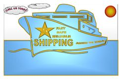 Ejemplo hermoso de una nave del envío con un grado de cinco estrellas ilustración del vector