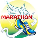 Ejemplo hermoso del emblema del maratón Imagenes de archivo