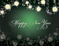 Ejemplo hermoso del estilo del bokeh de la Feliz Año Nuevo 2019 Fondo verde foto de archivo