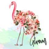 Ejemplo hermoso del vector de la moda con el flamenco rosado y el ROS ilustración del vector