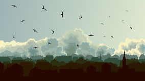 Ejemplo horizontal de la ciudad europea grande en la nube del fondo Foto de archivo libre de regalías