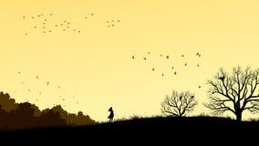 Ejemplo horizontal de la muchacha en el campo azotado por el viento libre illustration