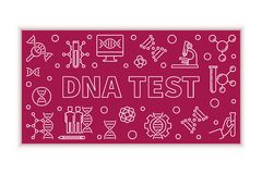 Ejemplo horizontal de la prueba de la DNA del vector en la línea estilo fina ilustración del vector
