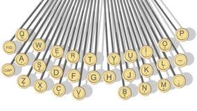 Ejemplo horizontal de las llaves de la máquina de escribir. Fotografía de archivo