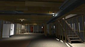 Ejemplo inacabado del sótano, remodelado del hogar ilustración del vector
