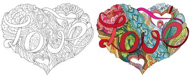 Ejemplo incompleto del corazón del garabato con la palabra AMOR libre illustration