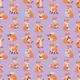 Ejemplo inconsútil animal del vector del modelo del bosque anaranjado divertido adorable lindo del carácter del Fox Imágenes de archivo libres de regalías