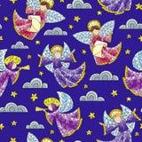Ejemplo inconsútil con ángeles, nubes y estrellas del vitral en fondo azul libre illustration
