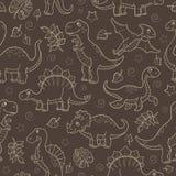 Ejemplo inconsútil con los dinosaurios y las hojas, esquema beige contorneado de los animales en un fondo marrón ilustración del vector