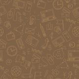 Ejemplo inconsútil con los iconos simples en un negocio del tema y las comunicaciones, esquema beige en un fondo marrón libre illustration