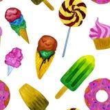 Ejemplo inconsútil de la acuarela de la torta y del helado libre illustration