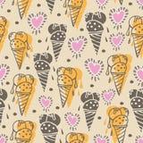 Ejemplo inconsútil del modelo de la repetición de los sueños Crema-dulces del hielo Fondo en amarillo, rosa, poner crema y marrón libre illustration