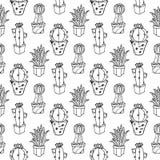 Ejemplo inconsútil del modelo del cactus Fotos de archivo libres de regalías