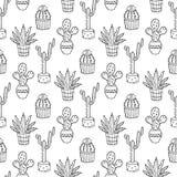Ejemplo inconsútil del modelo del cactus Foto de archivo libre de regalías