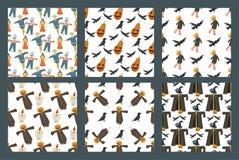 Ejemplo inconsútil del vector de la trapo-muñeca del espantapájaros de la granja del fondo del modelo de diverso de las muñecas d Fotografía de archivo