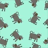 Ejemplo inconsútil del vector de la vaca de la historieta Imagen de archivo