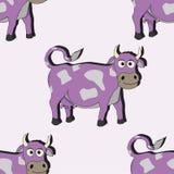 Ejemplo inconsútil del vector de la vaca de la historieta Fotografía de archivo