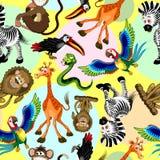 Ejemplo inconsútil del vector del modelo de los caracteres lindos y divertidos de la historieta de los animales salvajes libre illustration