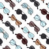 Ejemplo inconsútil del vector del modelo de los vidrios Fondo retro de las gafas de sol de la moda ilustración del vector