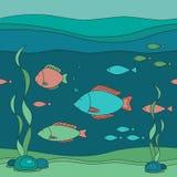 Ejemplo inconsútil del vector del mundo subacuático stock de ilustración