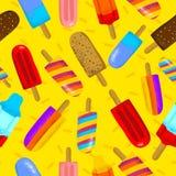 Ejemplo inconsútil del vector del tiempo de verano colorido del helado Puede ser utilizado y conveniente para las tarjetas de reg stock de ilustración