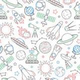 Ejemplo inconsútil en el tema del espacio y del vuelo espacial, iconos dibujados con el marcador coloreado en el fondo blanco Foto de archivo