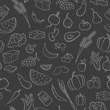 Ejemplo inconsútil en el tema del vegetarianismo, iconos del ultramarinos, iconos blancos del esquema simple en un fondo oscuro Fotografía de archivo