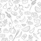 Ejemplo inconsútil en el tema del vegetarianismo, iconos del ultramarinos, iconos simples del negro del esquema en un fondo blanc Imagen de archivo