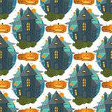 Ejemplo inconsútil fantasmagórico del vector del diseño de Halloween del modelo del castillo terrible melancólico indeterminado m ilustración del vector