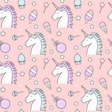 Ejemplo inconsútil lindo del fondo del modelo con unicornio, el caramelo, la piruleta, el helado, las estrellas y la magdalena Imagen de archivo