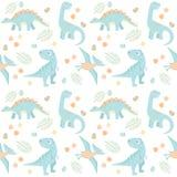 Ejemplo inconsútil prehistórico del vector del modelo de cuatro pequeños del bebé azul colores claros del dinosaurio stock de ilustración