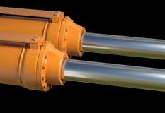 Ejemplo industrial 3d del sistema hydráulico del pistón de la máquina Imagen de archivo