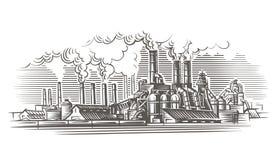 Ejemplo industrial del estilo del grabado del paisaje Fotografía de archivo
