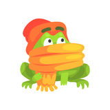Ejemplo infantil de la historieta de la bufanda y del sombrero del carácter divertido de la rana que lleva verde Foto de archivo libre de regalías