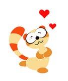 Ejemplo infantil de un animal similar a un mapache con la expresión del amante stock de ilustración