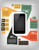 Ejemplo infographic de la comunicación con el móvil Fotos de archivo