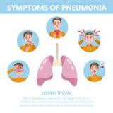 Ejemplo infographic de los síntomas de la pulmonía Tos y dolor ilustración del vector