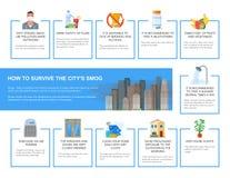 Ejemplo infographic del vector de la niebla con humo Cómo sobrevivir en ciudad contaminada Elementos del diseño, estilo plano de  Fotografía de archivo