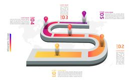 Ejemplo infographic eps10 del vector de los pasos del diseño 5 del punto de la marca del mapa itinerario libre illustration