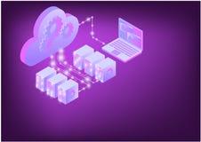 Ejemplo infographic isom?trico del almacenamiento de datos de la nube 3d stock de ilustración