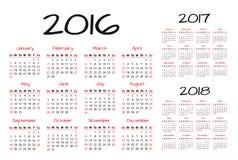 Ejemplo inglés del vector del calendario 2016-2017-2018 Fotografía de archivo