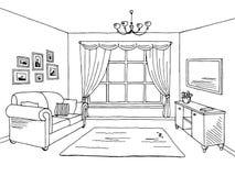 Ejemplo interior blanco negro gráfico del bosquejo de la sala de estar Fotos de archivo